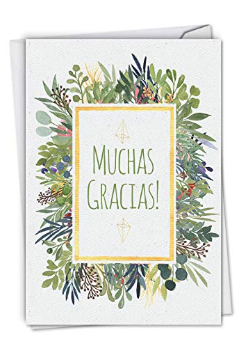 - Muchas Gracias - Elegant Spanish Thank You Card with Envelope (4.63 x 6.75 Inch) - Beautiful Floral Watercolor Design, Gratitude Appreciation Card - Stationery Note Card C6649TYG-SL