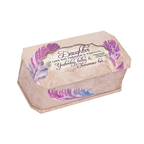 Cottage Garden Daughter I Love You Watercolor Feathers Musical Box Plays Friend In Jesus