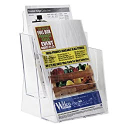 Clear-Ad - LHF-S112 - Acrylic Slant Back 2 Tier 2-Pocket Bifold Brochure Holder 6x9 in Bulk - Perfect to Display Booklets, Catalogues, Pamphlets, Flyers, Postcards (Pack of 12)