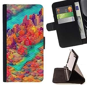 BullDog Case - FOR/Samsung Galaxy Core Prime / - / COLORFUL PIXEL BLOCK CITY /- Monedero de cuero de la PU Llevar cubierta de la caja con el ID Credit Card Slots Flip funda de cuer