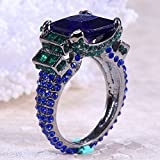 Women Man Charm 925 Silver Ring 6.1Ct Tanzanite Fashion Wedding Ring Size 6-10 (7)