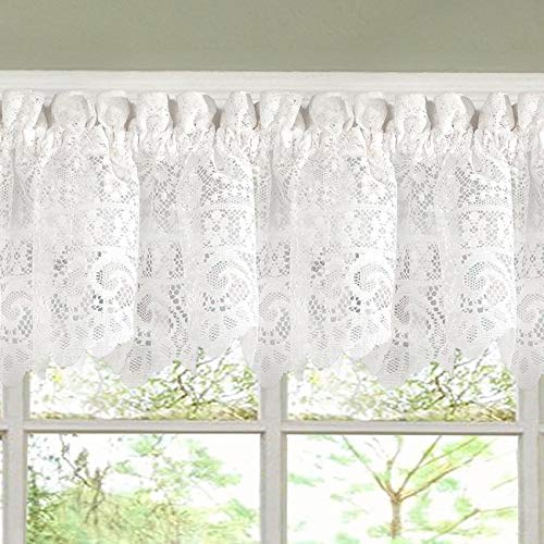 - MISC 1 Piece White Priscilla Curtain, Sheer Kitchen Valance Single Panel, Boho Lace Window Treatment Floral Shabby Chic Scalloped Elegant, 12 Inch Polyester