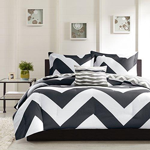 4 Piece Plush Reversible Zig Zag Chevron Print Comforter Set, Teal / Grey, Black, Grey - Queen , King Size (Queen, Black / Grey)
