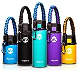 hot water holder - WaterFit Vacuum Insulated Water Bottle - Double Wall Stainless Steel Leak Proof BPA Free Sports Wide Mouth Water Bottle - Travel Coffee Mug - 12 oz, 16 oz or 20 oz - 5 colors with Paracord Handle