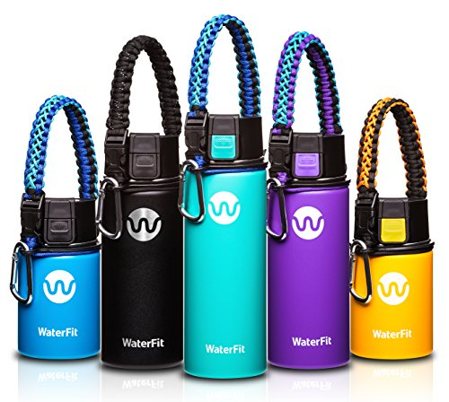 16 Ounce Traveler Mug (WaterFit Vacuum Insulated Water Bottle - Double Wall Stainless Steel Leak Proof BPA Free Sports Wide Mouth Water Bottle - Travel Coffee Mug - 12 oz, 16 oz or 20 oz - 5 colors with Paracord Handle)