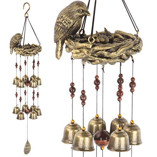 Gardenvy Bird Nest Wind Chime, Bird Bells Chimes with 12 Wind Bells for Glory Mother