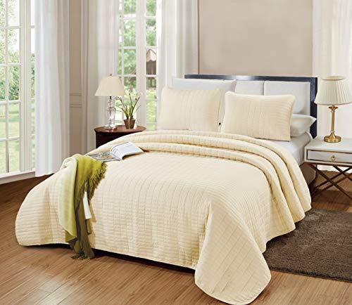 GrandLinen 3-Piece Bedding Catena Quilt Set Solid Light Ivory (California) Cal King Size 104