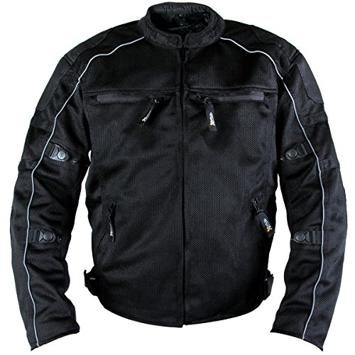 Tex Leather Mesh Jacket (Xelement XS6557 Troubled Mens Black All Weather Mesh Level 3 CE Armored Motorcy - X-Large)