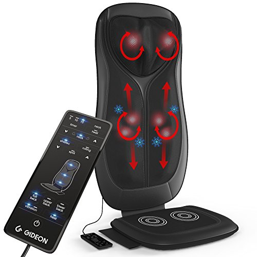 Gideon Shiatsu Massage Cushion with Heat Portable Chair Pad Massager with Deep Kneading Pain Relief for Full Back & Neck Includes Six Program Remote for Home, Office and Car Use