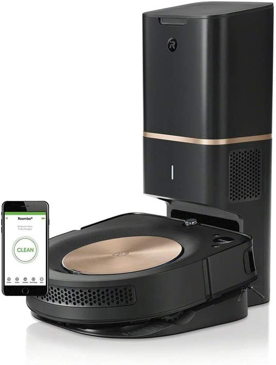 WiFi Connected Robot Vacuum with Automatic Dirt Disposal Black//Gold iRobot ROOMBA S9