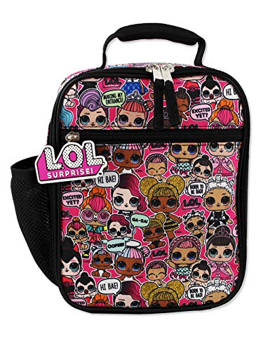 L.O.L. ¡Sorpresa! Lonchera escolar con aislamiento suave para niñas (talla única, negro / rosa)