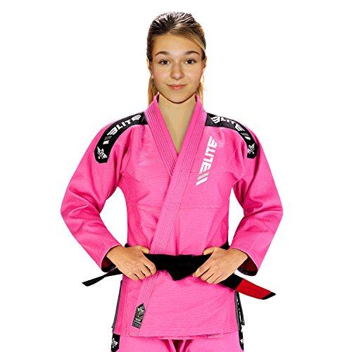 Elite Sports IBJJF Ultra Light BJJ Brazilian Jiu Jitsu Gi for Kids with Preshrunk Fabric and Free Belt, C00, Pink