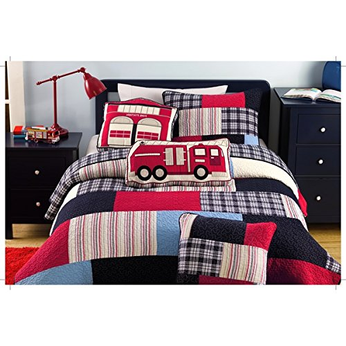 2 Piece Fireman Quilt Set, This Fireman Bedding Collection Features Plaid Accents - Boys Blue, Red & Multi Color Rainbow Twin Size - Firefighter Color Themed Bedding! 100% COTTON