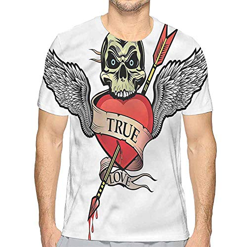 t Shirt Printer Tattoo,Angel Wings Skull Love Junior t Shirt M ()