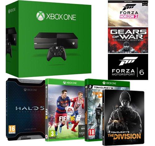 Pack Xbox One 500 Go + The Division avec Steelbook + Fifa 16 + Halo 5 édition limitée + 3 jeux en téléchargement