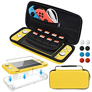 Accessories Bundle for Nintendo Switch Lite, Carrying Case with Screen Protector and TPU Protective Cover Case for Nintendo Switch Lite, Yellow
