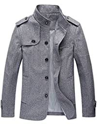 Men's Military Stylish Single Breasted Natural Fit Stripe Lined Wool Pea Coats