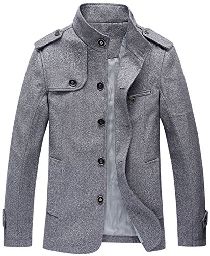 Chouyatou Men's Military Stylish Single Breasted Natural Fit Stripe Lined Wool Pea Coats (Large, - Grey Stripe Single