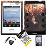 4 items Combo: ITUFFY LCD Screen Protector Film + Mini Stylus Pen + Case Opener + Outdoor Wild Deer Grass Camouflage Design Rubberized Hard Plastic + Soft Rubber TPU Skin Dual Layer Tough Hybrid Case for Straight Talk LG Optimus Logic L35G/ /Net 10 LG Dynamic L38c / LG Optimus Zone VS410PP