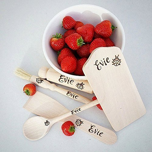Children's Customized Wooden Miniature Cookset Baking set Hand Engraved Personalized CK01