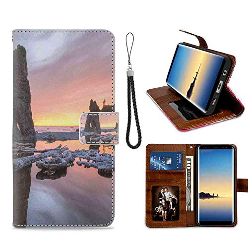 - mophinda Samsung Galaxy S7 (2016) Phone Wallet Case Driftwood,Setting Sun Theme with Sea Stacks and Driftwood at Ruby Beach Digital Image,Orange and Grey Premium