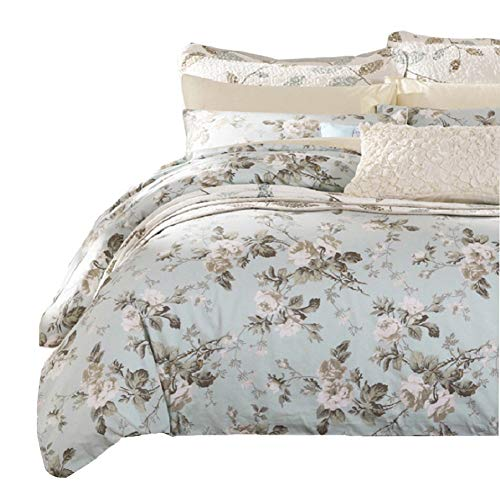 Toile King Comforter - SexyTown French Country Garden Toile Floral Printed Duvet Quilt Cover Egyptian Cotton Bedding Set Chinoiserie Peony Blossom Tree Branches Multicolored Design Cal King Light Green