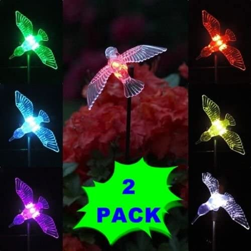 2 Solar Powered Hummingbird LED Garden Stake Color Changing Path Light ST08