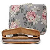 kayond Water-Resistant Canvas 11.6 Inch Laptop Sleeve-White Rose
