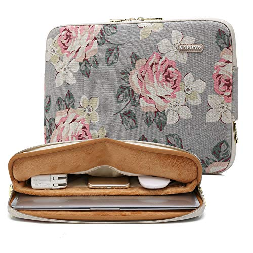 kayond Water-Resistant Canvas 13.3 Inch Laptop Sleeve-White Rose