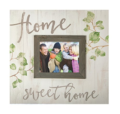 Home Sweet Home Rustic Whitewash 17.5 x 17 Wood Wall Hanging Photo Frame Plaque