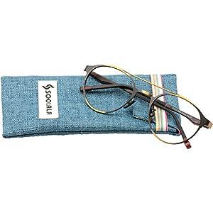 SOOLALA Retro Designer Round Full Rimmed Eyeglasses Frame Cool Reading Glasses, +3.5, Coffee