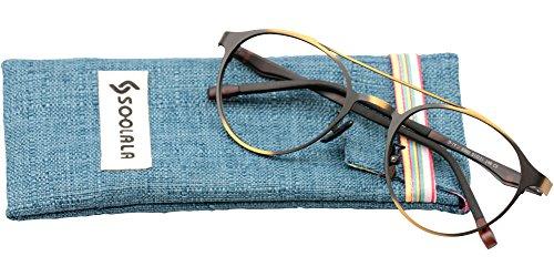 SOOLALA Retro Designer Round Full Rimmed Eyeglasses Frame Cool Reading Glasses, +2.0, - Mens Reading Designer Glasses Uk