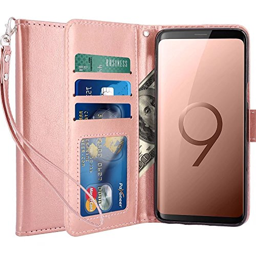 LK Galaxy S9 Case,[Wrist Strap] Luxury PU Leather Wallet Flip Protective Case Cover with Card Slots and Stand for Samsung Galaxy S9 (Rose Gold)