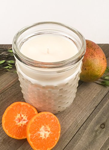 Mango & Tangerine Soy Candle, Hobnail Glass Jar Candle, 22 oz (Hobnail Co)