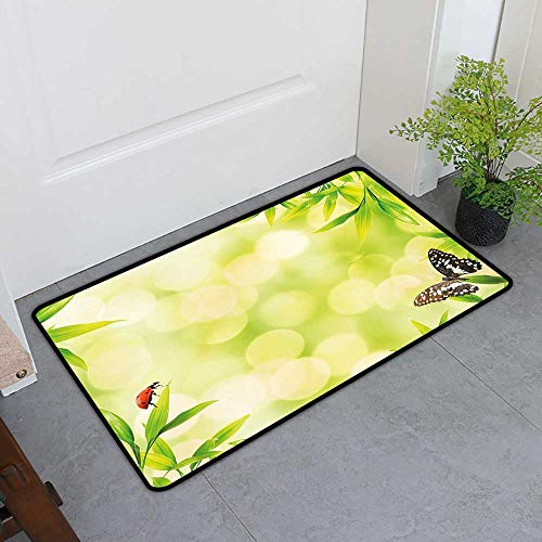 Custom&blanket Dog-Cat Mat, Plant Non-Slip Rugs for Kitchen, Ladybug and a Butterfly Standing on a Bamboo Leaves Bokeh Background (Light Green Multicolor, H32 x W48) ()