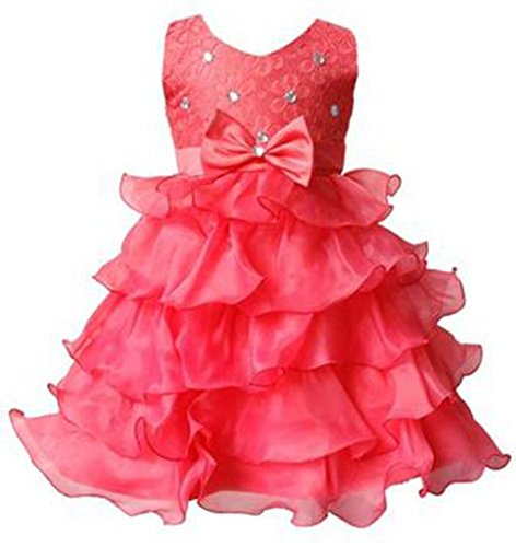 [Kids Showtime Little Girls Crystal Layered Occasion Tutu Dress(Watermelon Red,5)] (Watermelon Toddler Costume)