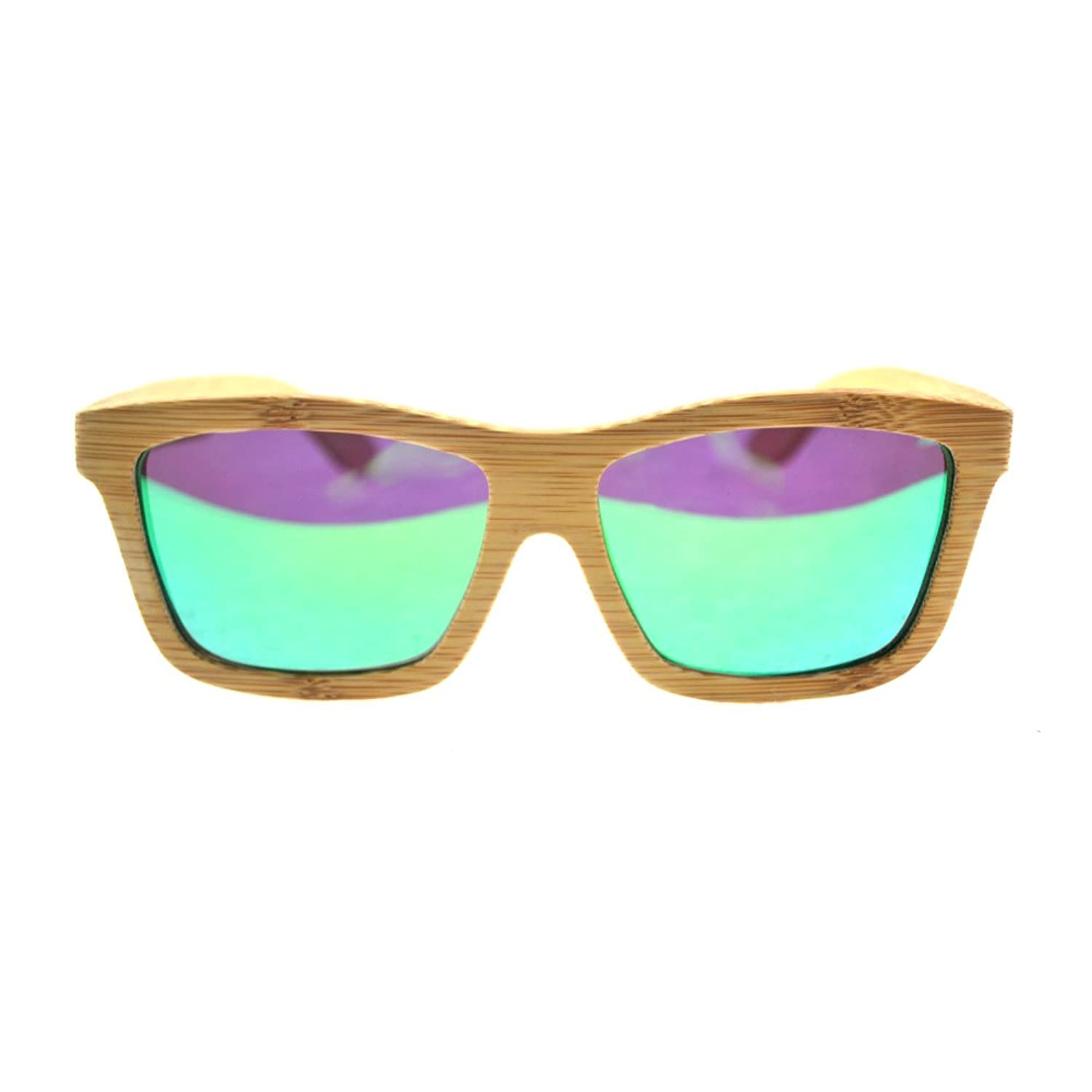 Women's Men's Fashion Wood Wooden Bamboo Polarized Sunglasses Aviator