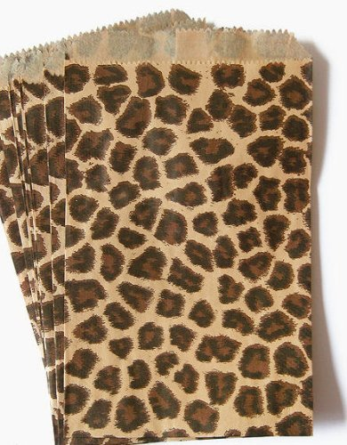 "50 Bags Flat Plain Paper or Patterned Bags for candy, cookies, merchandise, pens, Party favors, Gift bags (4"" x 6"", Cheetah Leopard Print)"