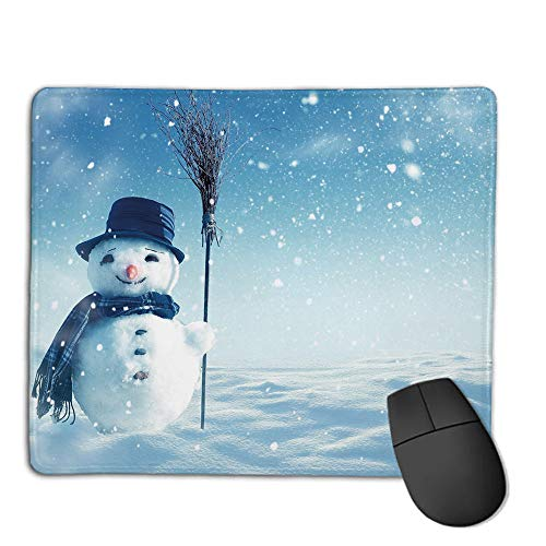 Computer Mouse Cushion and Natural Rubber Back and Cloth Surface,Snowman,Snow Covered Wintry Landscape with Cute Happy Snowman Cold Outdoors Decorative,Dark Blue Pale Blue White,Applies to Games,HOM