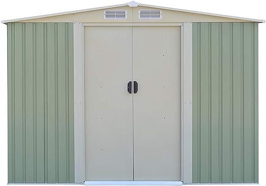 Goplus cobertizo de acero galvanizado para almacenamiento al aire ...