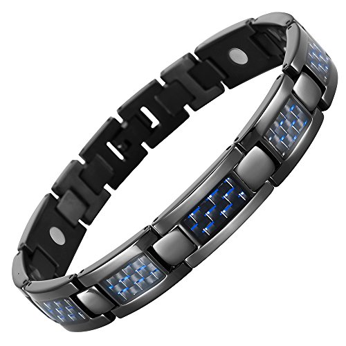 Blue Carbon Fiber Titanium Magnetic Bracelet Adjustable By Willis (Titanium Magnetic Bracelets)