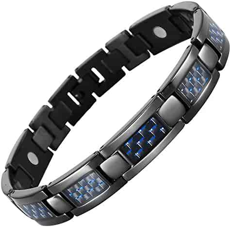 Blue Carbon Fiber Titanium Magnetic Bracelet Adjustable By Willis Judd