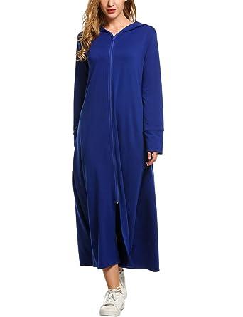 Qearal Women Long Robes Plus Size Hoodie Bathrobe Zipper Maxi Hoodie