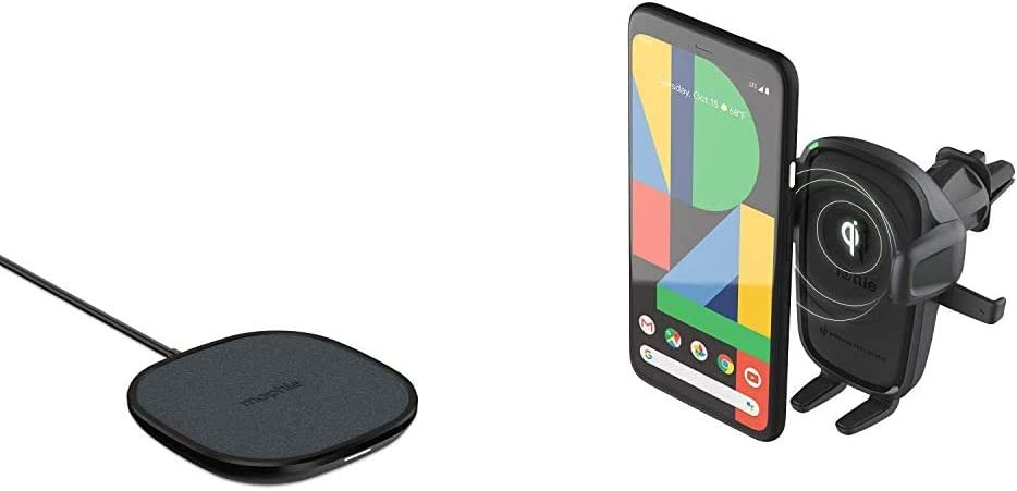 mophie Wireless 10W Charging Pad & iOttie Wireless Car Charger Easy One Touch Wireless 2 Qi Charging CD Slot + Air Vent Combo Phone Mount for iPhone, Samsung Galaxy, Huawei, LG, Smartphones