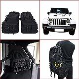 2 pcs Roll Cage Saddlebag Multi-Pockets Storage & Organizers & Cargo Bag for Jeep Wrangler JK 4-door Tool Kits Bottle Drink Phone Tissue Gadget Holder 2007-2016