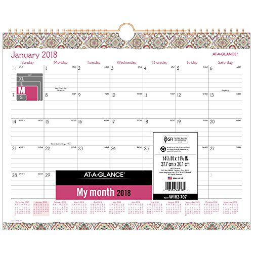 Wirebound Monthly Planner (AT-A-GLANCE Monthly Wall Calendar, January 2018 - December 2018, 14-7/8