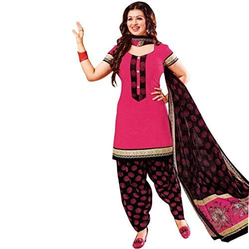 Designer Printed Cotton Salwar Kameez Ready Made Suit Indian Dress – 0X Plus, Pink