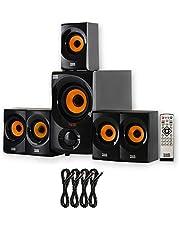Acoustic Audio by Goldwood Acoustic Audio AA5170 Home Theater 5.1 Sistema de Altavoces Bluetooth con FM y 4 Cables de extensión, Color Negro