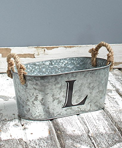 Rustic Design Galvanized Monogram Buckets-Metal and Jute-Features Your Initial and Both Sides Have Rope-Perfect for Storing Almost Anything Around Your Home- Multiple Design Available (L) ()