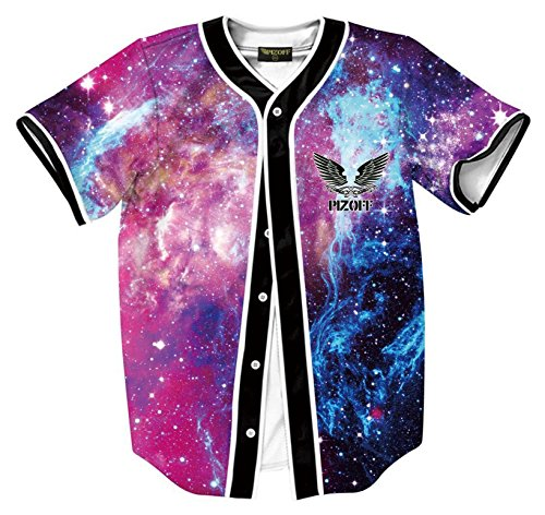 PIZOFF Short Sleeve Beseball Team Jersey V-Neck Button Down Galaxy Print T Shirts Y1724-70-XXL